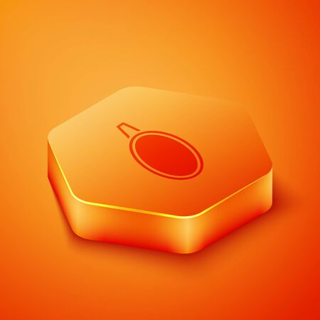 Isometric Mirror icon isolated on orange background. Orange hexagon button. Vector Illustration