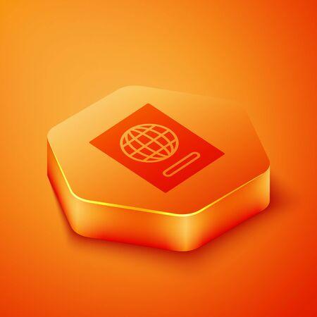 Isometric Passport with biometric data icon isolated on orange background. Identification Document. Orange hexagon button. Vector Illustration Vectores