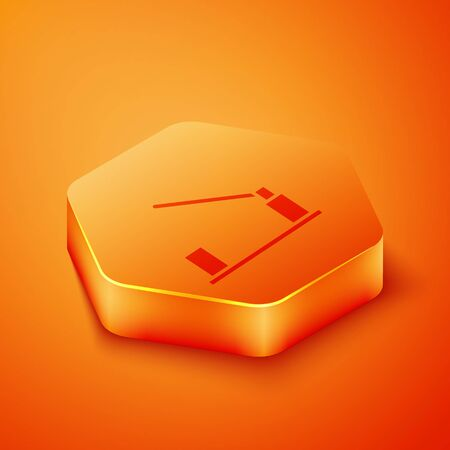 Isometric Parking car barrier icon isolated on orange background. Street road stop border. Orange hexagon button. Vector Illustration
