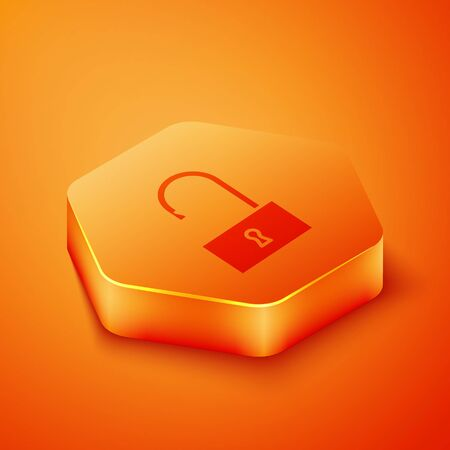 Isometric Open padlock icon isolated on orange background. Opened lock sign. Cyber security concept. Digital data protection. Orange hexagon button. Vector Illustration