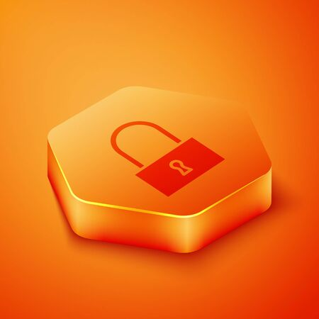 Isometric Lock icon isolated on orange background. Padlock sign. Security, safety, protection, privacy concept. Orange hexagon button. Vector Illustration 向量圖像
