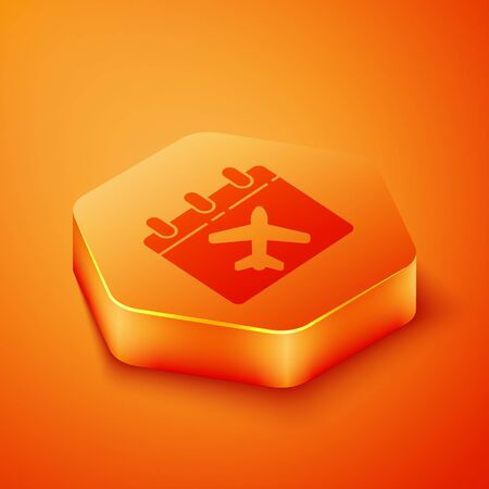 Isometric Travel planning calendar and airplane icon isolated on orange background. A planned holiday trip. Orange hexagon button. Vector Illustration Illusztráció