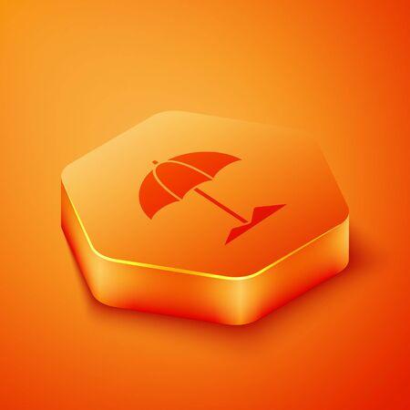 Isometric Sun protective umbrella for beach icon isolated on orange background. Large parasol for outdoor space. Beach umbrella. Orange hexagon button. Vector Illustration