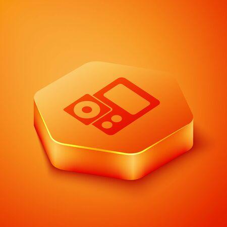 Isometric Photo camera icon isolated on orange background. Foto camera icon. Orange hexagon button. Vector Illustration
