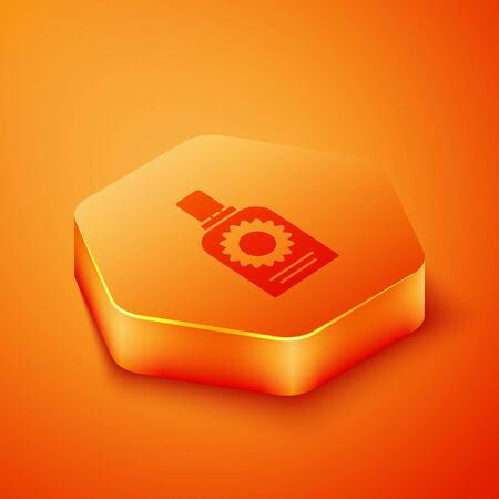Isometric Sunscreen spray bottle icon isolated on orange background. Protection for the skin from solar ultraviolet light. Orange hexagon button. Vector Illustration