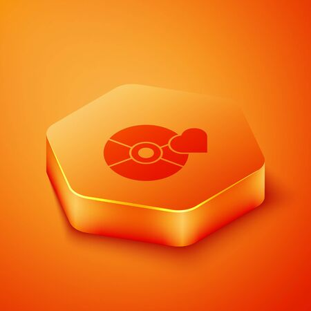 Isometric Adult label on compact disc icon isolated on orange background. Age restriction symbol. 18 plus content sign. Adult channel. Orange hexagon button. Vector Illustration