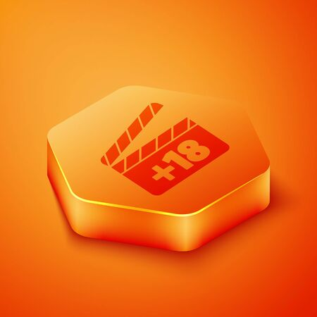 Isometric Movie clapper with 18 plus content icon isolated on orange background. Age restriction symbol. Adult channel. Orange hexagon button. Vector Illustration Ilustração
