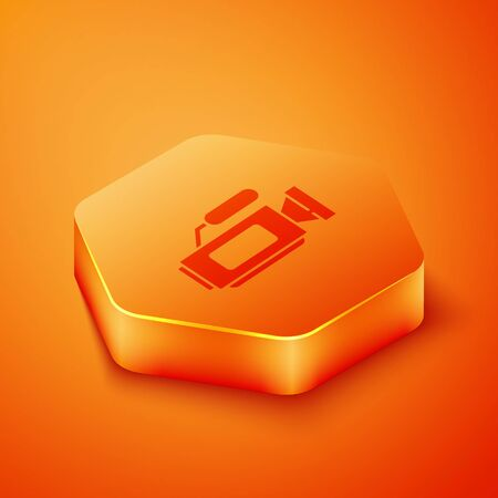 Isometric Cinema camera icon isolated on orange background. Video camera. Movie sign. Film projector. Orange hexagon button. Vector Illustration Banque d'images - 143458313