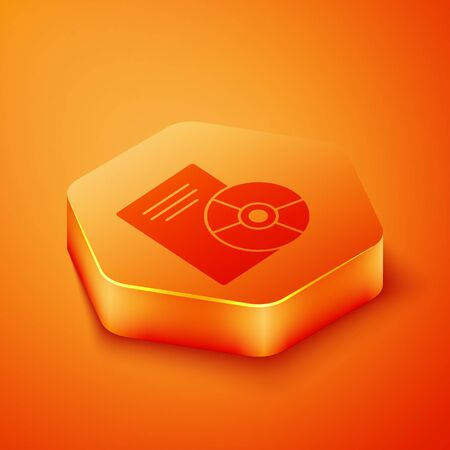 Isometric CD or DVD disk icon isolated on orange background. Compact disc sign. Orange hexagon button. Vector Illustration 写真素材 - 143436653