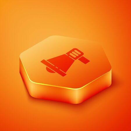 Isometric Megaphone icon isolated on orange background. Speaker sign. Orange hexagon button. Vector Illustration  イラスト・ベクター素材