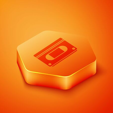 Isometric VHS video cassette tape icon isolated on orange background. Orange hexagon button. Vector Illustration 写真素材 - 143436679
