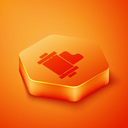 Isometric Camera vintage film roll cartridge icon isolated on orange background. 35mm film canister. Filmstrip photographer equipment. Orange hexagon button. Vector Illustration Banque d'images - 143436580