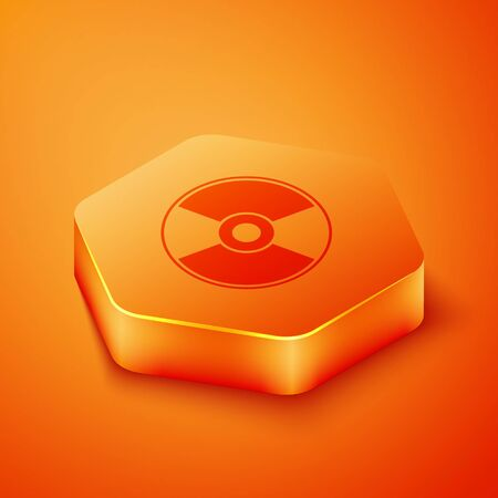 Isometric CD or DVD disk icon isolated on orange background. Compact disc sign. Orange hexagon button. Vector Illustration