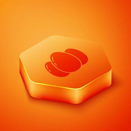 Isometric Easter eggs icon isolated on orange background. Happy Easter. Orange hexagon button. Vector Illustration