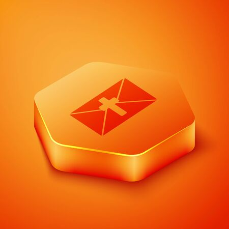 Isometric Greeting card with Happy Easter icon isolated on orange background. Celebration poster template for invitation or greeting card. Orange hexagon button. Vector Illustration