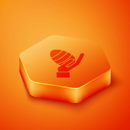 Isometric Human hand and easter egg icon isolated on orange background. Happy Easter. Orange hexagon button. Vector Illustration