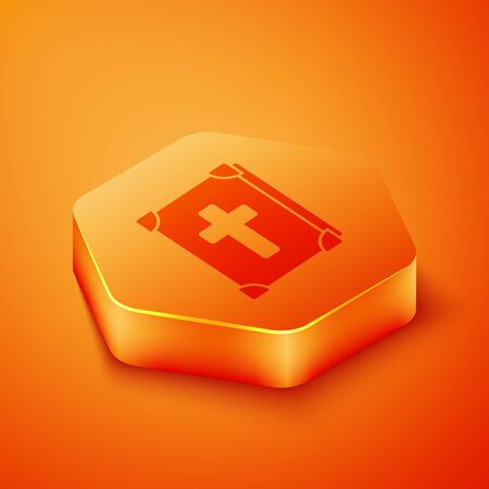 Isometric Holy bible book icon isolated on orange background. Orange hexagon button. Vector Illustration