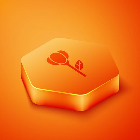 Isometric Flower tulip icon isolated on orange background. Orange hexagon button. Vector Illustration
