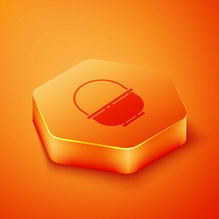 Isometric Basket icon isolated on orange background. Happy Easter. Orange hexagon button. Vector Illustration