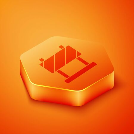 Isometric Road barrier icon isolated on orange background. Symbol of restricted area which are in under construction processes. Repair works. Orange hexagon button. Vector Illustration Reklamní fotografie - 143437056