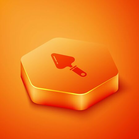 Isometric Trowel icon isolated on orange background. Orange hexagon button. Vector Illustration Illustration