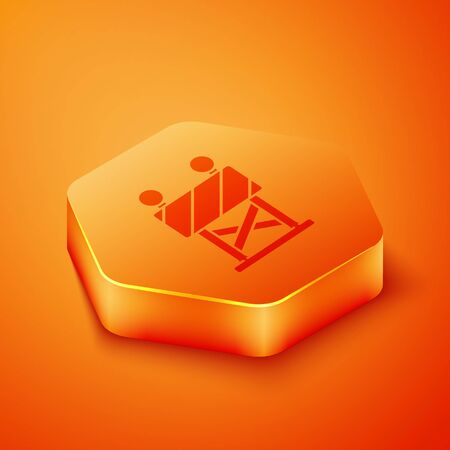 Isometric Road barrier icon isolated on orange background. Symbol of restricted area which are in under construction processes. Repair works. Orange hexagon button. Vector Illustration