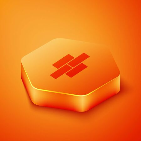Isometric Bricks icon isolated on orange background. Orange hexagon button. Vector Illustration