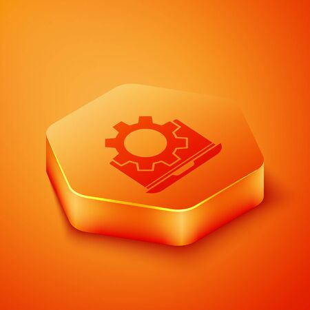 Isometric Laptop and gear icon isolated on orange background. Adjusting app, setting options, maintenance, repair, fixing. Orange hexagon button. Vector Illustration