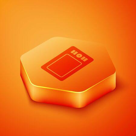Isometric Graphic tablet icon isolated on orange background. Orange hexagon button. Vector Illustration