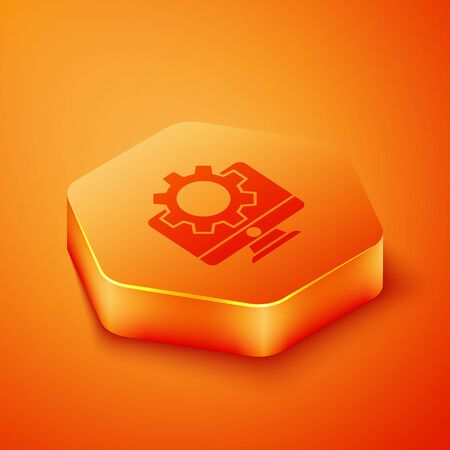 Isometric Computer monitor and gear icon isolated on orange background. Adjusting, service, setting, maintenance, repair, fixing. Orange hexagon button. Vector Illustration
