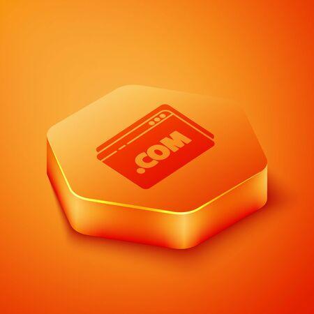 Isometric Website template icon isolated on orange background. Internet communication protocol. Orange hexagon button. Vector Illustration 向量圖像