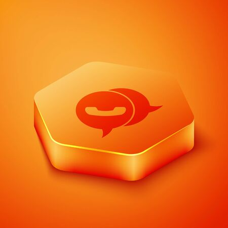Isometric Telephone with speech bubble chat icon isolated on orange background. Support customer service, hotline, call center, faq. Orange hexagon button. Vector Illustration Vettoriali