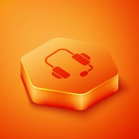 Isometric Headphones icon isolated on orange background. Support customer service, hotline, call center, faq, maintenance. Orange hexagon button. Vector Illustration