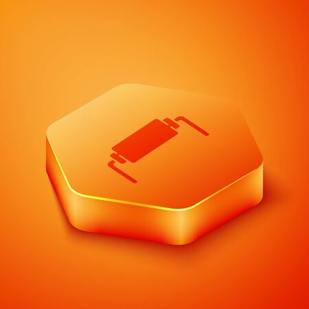 Isometric Resistor electricity icon isolated on orange background. Orange hexagon button. Vector Illustration