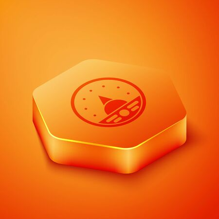 Isometric Ampere meter, multimeter, voltmeter icon isolated on orange background. Instruments for measurement of electric current. Orange hexagon button. Vector Illustration