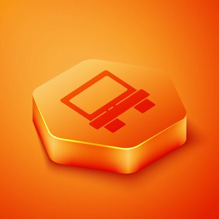 Isometric Fuse of electrical protection component icon isolated on orange background. Melting breaking protective fuse. Orange hexagon button. Vector Illustration