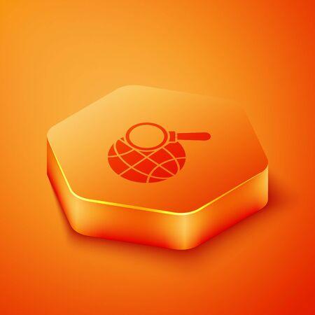 Isometric Magnifying glass with globe icon isolated on orange background. Analyzing the world. Global search sign. Orange hexagon button. Vector Illustration Ilustração
