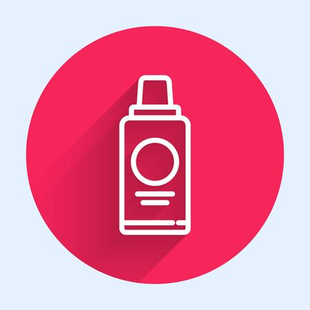White line Bottle of shampoo icon isolated with long shadow. Red circle button. Vector Illustration 写真素材 - 143438326