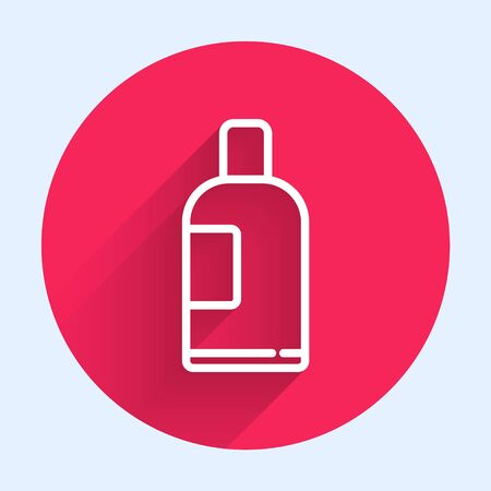 White line Bottle of shampoo icon isolated with long shadow. Red circle button. Vector Illustration