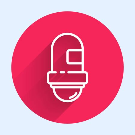 White line Antiperspirant deodorant roll icon isolated with long shadow. Cosmetic for body hygiene. Red circle button. Vector Illustration
