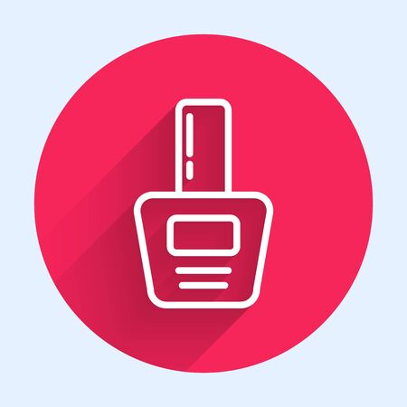 White line Nail polish bottle icon isolated with long shadow. Red circle button. Vector Illustration  イラスト・ベクター素材