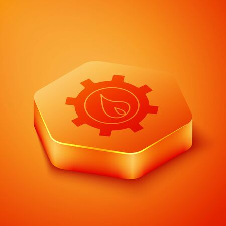 Isometric Oil and gas industrial factory building icon isolated on orange background. Orange hexagon button. Vector Illustration