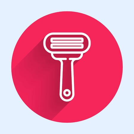 White line Shaving razor icon isolated with long shadow. Red circle button. Vector Illustration  イラスト・ベクター素材
