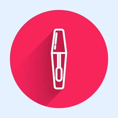 White line Mascara brush icon isolated with long shadow. Red circle button. Vector Illustration  イラスト・ベクター素材