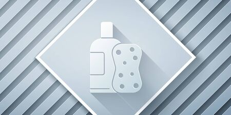 Paper cut Bottle of shampoo and sponge icon isolated on grey background. Paper art style. Vector Illustration Stock Illustratie