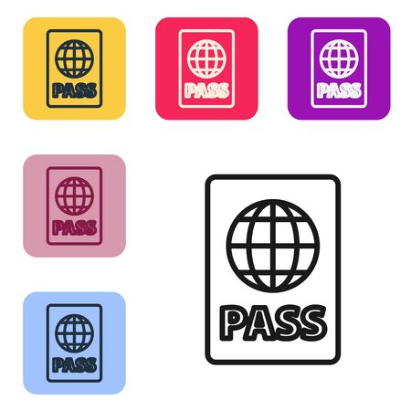 Black line Passport with biometric data icon isolated on white background. Identification Document. Set icons in color square buttons. Vector Illustration