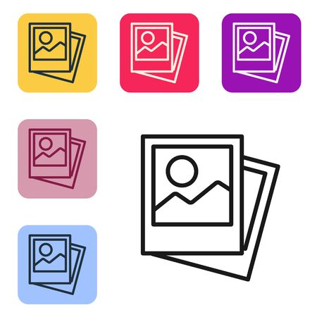 Black line Photo icon isolated on white background. Set icons in color square buttons. Vector Illustration Banque d'images - 143558766