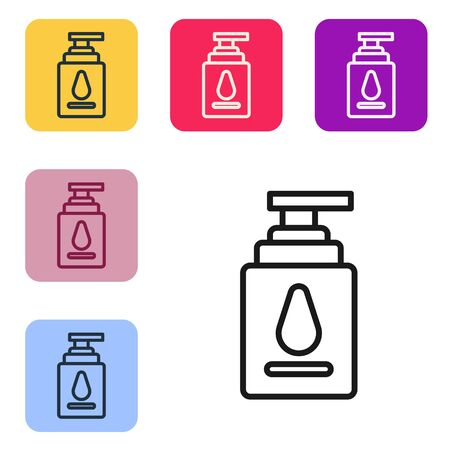 Black line Personal lubricant icon isolated on white background. Lubricating gel. Cream for games. Tube with package box. Set icons in color square buttons. Vector Illustration
