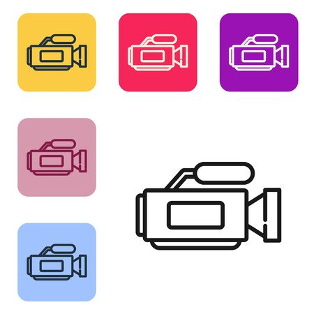 Black line Cinema camera icon isolated on white background. Video camera. Movie sign. Film projector. Set icons in color square buttons. Vector Illustration Banque d'images - 143539241