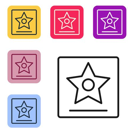 Black line Hollywood walk of fame star on celebrity boulevard icon isolated on white background. Famous sidewalk, boulevard actor. Set icons in color square buttons. Vector Illustration